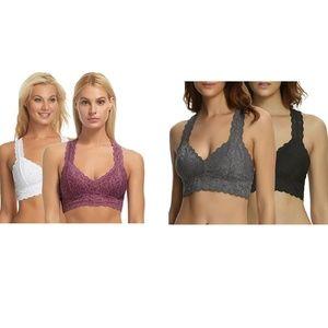 FeLiNa 2-Pack Lace Bralette stretch lining